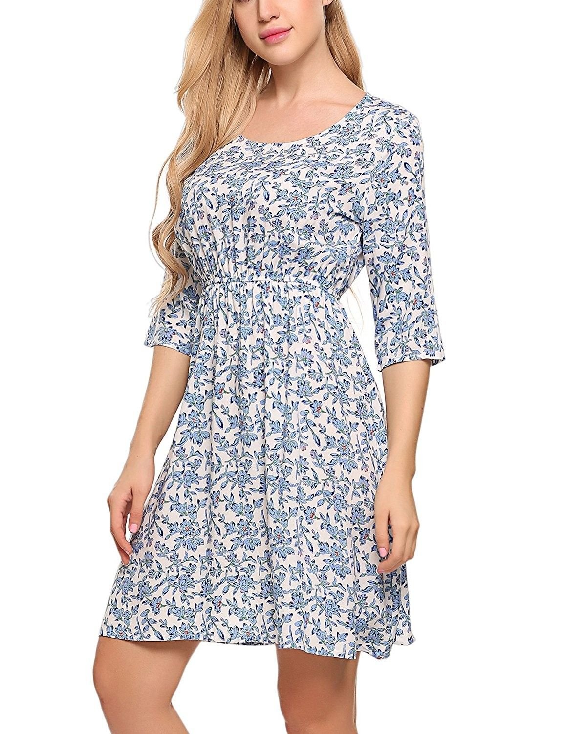 09381fdc1 Women's Clothing, Tops & Tees, Tunics, Women's Print Tunic Top Dress- 3/4  Sleeve Summer Casual T Shirt Midi Dresses - Light Blue - C3183W8H7C7 #women  ...