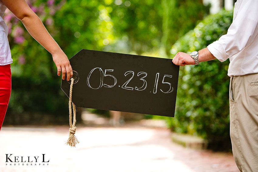 save the date photo with wedding date written on a chalkboard