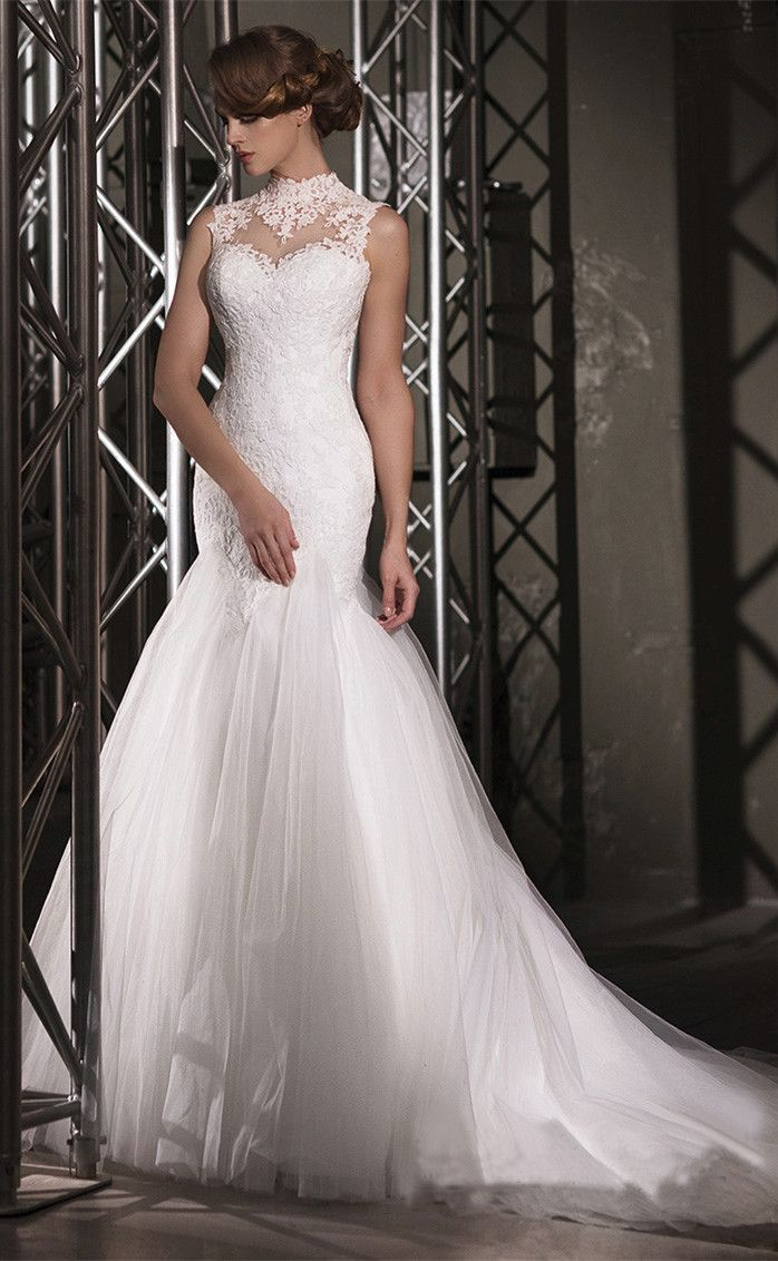 Highneck lace mermaid tulle wedding dress dress do you