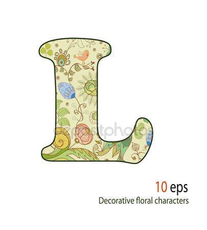 Pobieraj Ozdobne Litery Kwiaty I Ptaki Alfabet Czcionki Ilustracja Stockowa 10478002