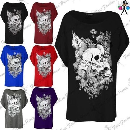90e76a2e251 Womens Ladies Halloween Floral Crown Skull Baggy Oversized Batwing Sequin  Top