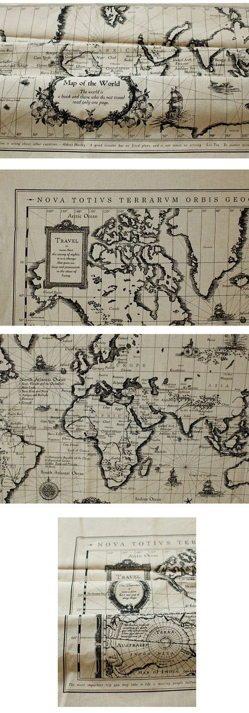 6901 retro cotton linen fabric antique world map x