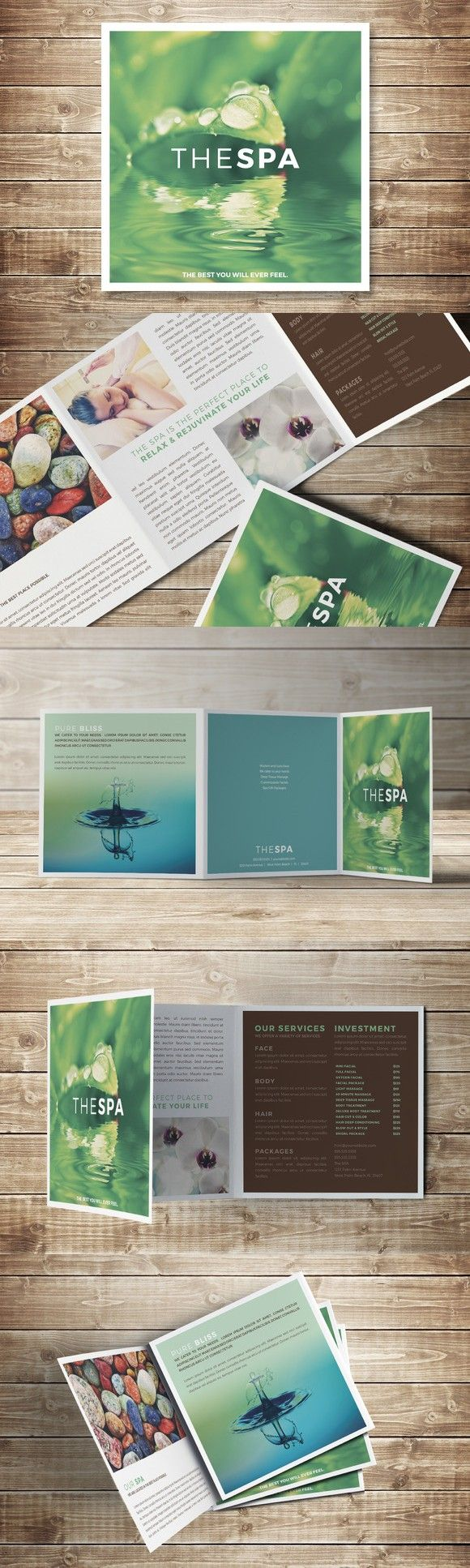 The Spa Trifold Square Brochure  Brochure Templates