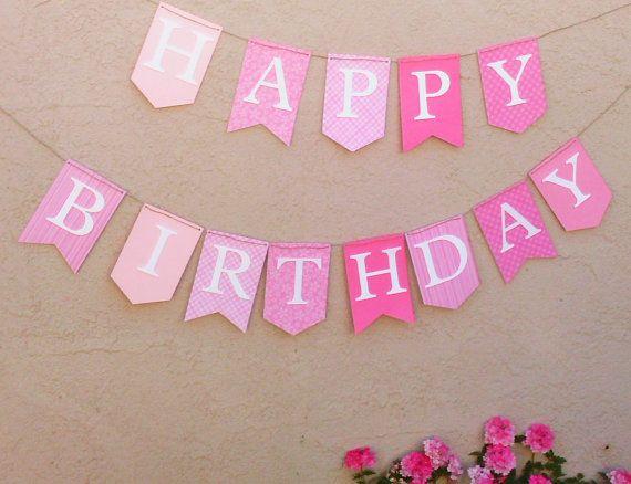 PINK  WHITE, Happy Birthday Banner, Girls Birthday Banner, Pink