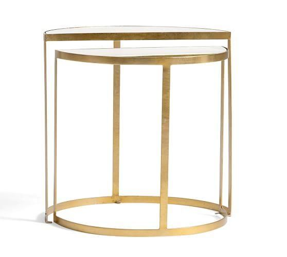 Alistar Gold Accent Table Bedside Table Brass Glass End Tables