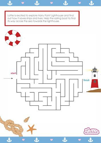 Lighthouse Keeper Lottie doll maze game for kids #free #printables Download at www.lottie.com/create/