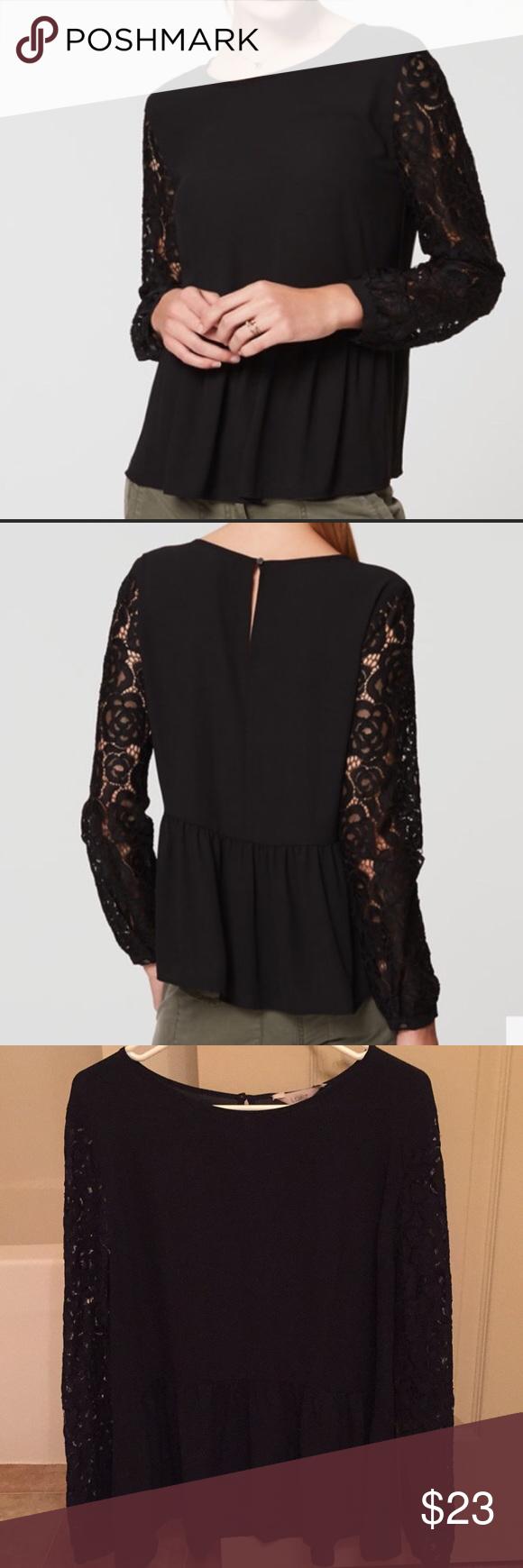 """7ba0934d Loft peplum blouse with lace sleeves Loft peplum blouse with lace sleeves  Keyhole detail on back Approx measurements: bust 22"""" LOFT Tops Blouses"""