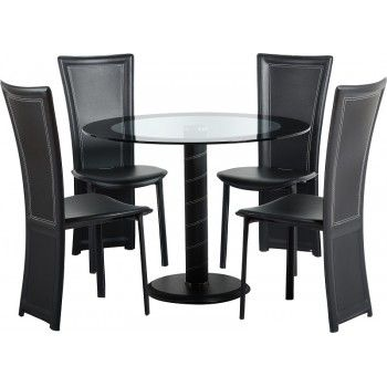The Cameo dining set features a clear glass table with black