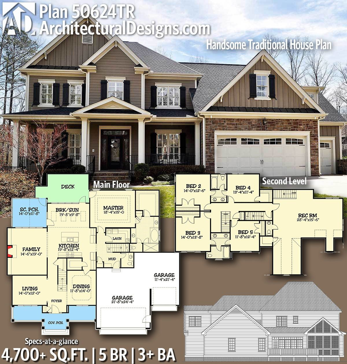 Plan 50624tr Handsome Traditional House Plan Sims House Plans House Blueprints House Plans