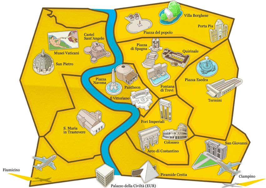Touristic Attraction Map Of Rome For All Us Newbies To Rome - Rome map in english with attractions