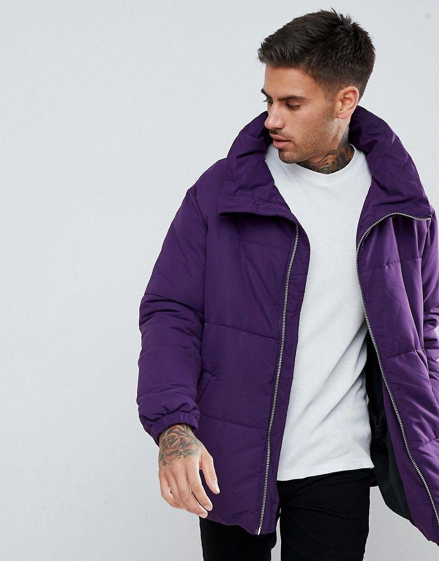 Pull Bear Padded Jacket In Purple Purple Stylish Men Casual Oversized Puffer Jacket Jackets [ 1110 x 870 Pixel ]