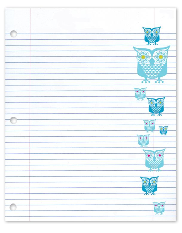 Owl notebook paper ) Have loved this shop since college Rock - lined notebook paper template