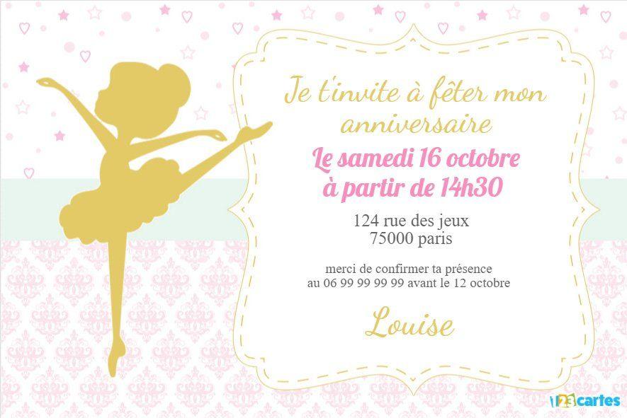 invitation anniversaire silhouette ballerine en or   Invitation anniversaire, Invitation ...