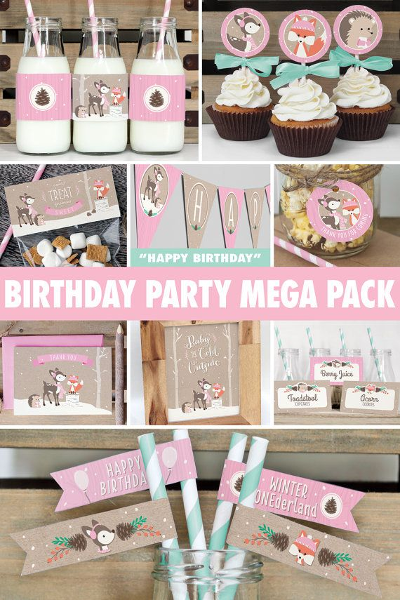 Winter Woodland Birthday Party Mega Pack Girl Pink