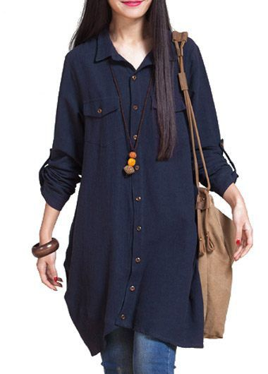 Navy Blue Long Sleeve Button Closure Shirt  on sale only US$32.06 now, buy cheap Navy Blue Long Sleeve Button Closure Shirt  at liligal.com