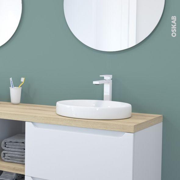 Vasque salle de bains MYRIO Semi encastrée Céramique blanche Ronde