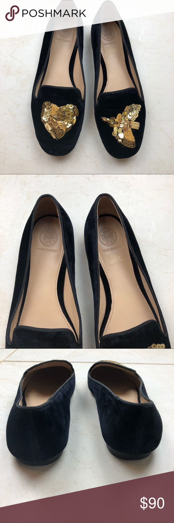 0f2886933cb Tory Burch Peace Smoking Slipper velvet loafer 7 Gently used Peace Smoking  Skipper by Tory Burch