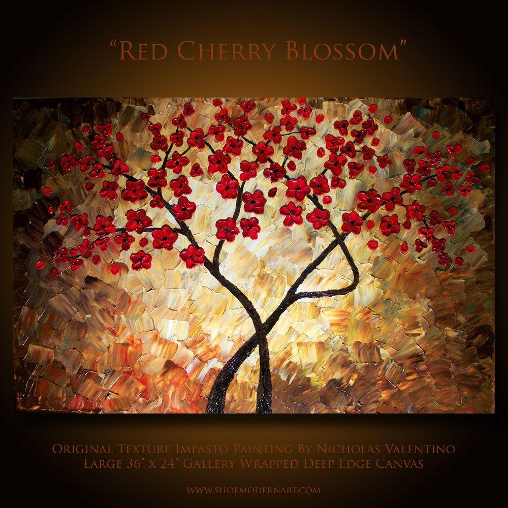 Original Cherry Blossom Tree Painting Impasto Textured Etsy Tree Painting Painting Cherry Blossom Tree