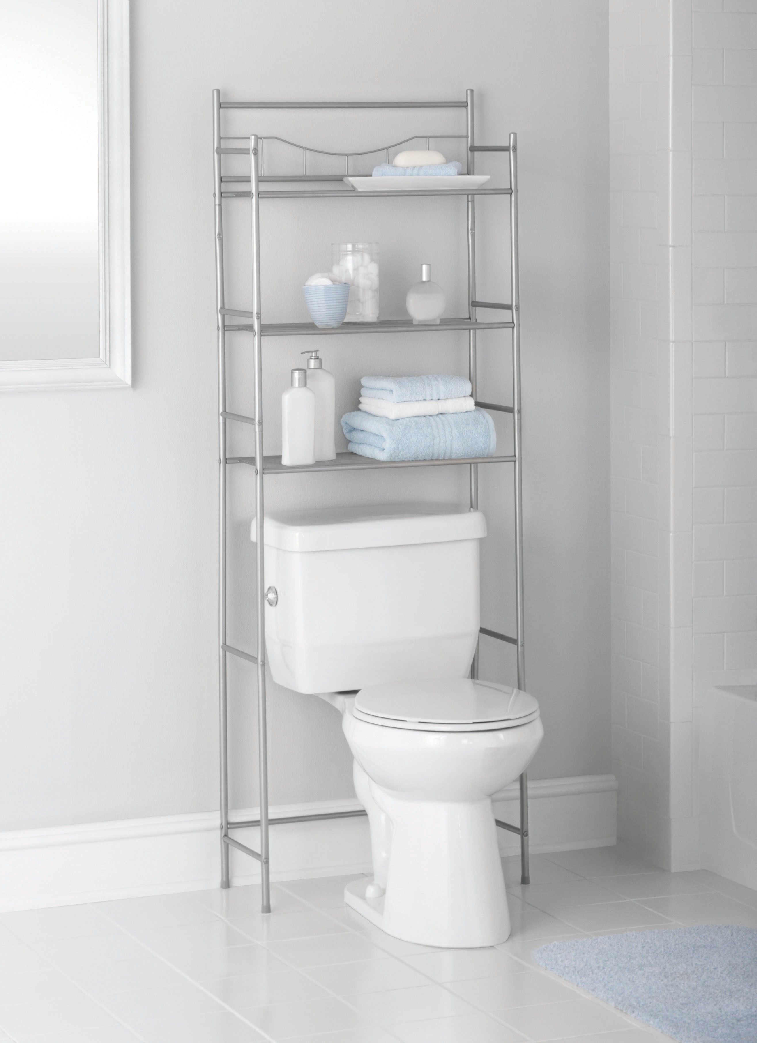 Mainstays 3 Shelf Bathroom Over The Toilet Space Saver With Liner Satin Nickel Walmart Com Bathroom Space Saver Bathroom Storage Shelves Bathroom Space