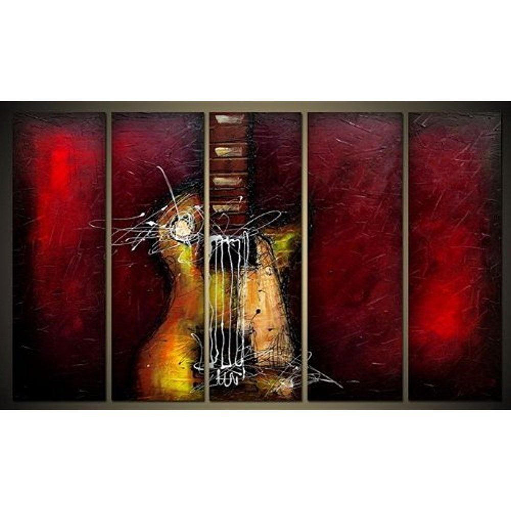 [Framed] Guitar Music Hand-Painted Artwork Canvas Modern Picture Wall Home Decor #WiecoArt #Abstract