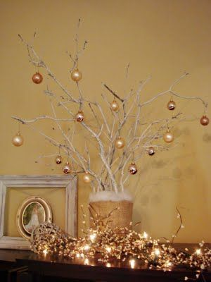 Branch Christmas Tree christmas tree out of spray painted branches! possibly have one in