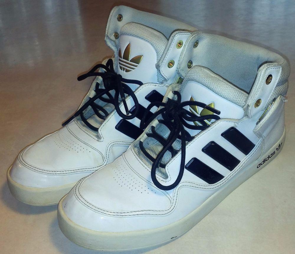 Adidas Men's White Black Gold Basketball Shoes Sneaker