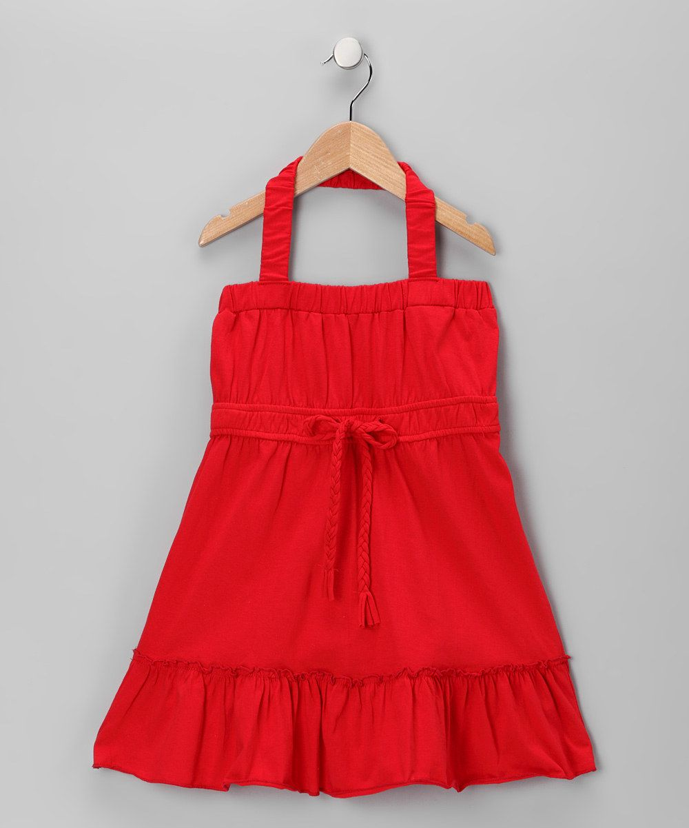 Red bow halter toddler dress from Chillipop