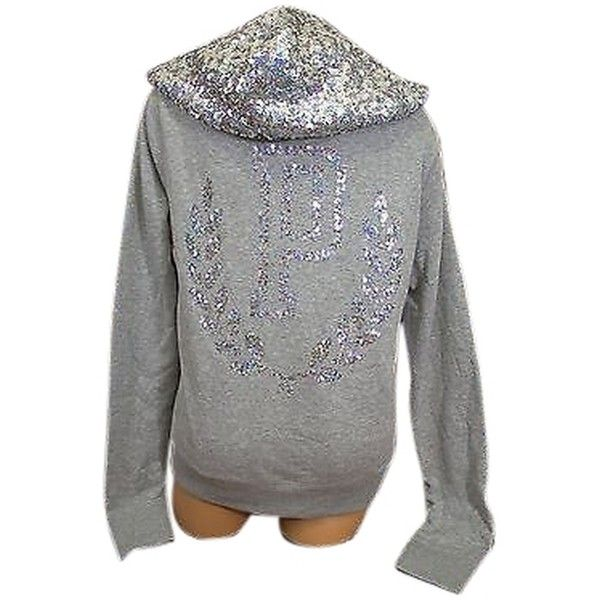 Pre-owned Victorias Secret Love Pink Bling Crest Zip Hoodie Silver... ($114) ❤ liked on Polyvore featuring tops, hoodies, grey, gray hooded sweatshirt, grey hooded sweatshirt, grey zip hoodie, zip hoodie and pink hoodie