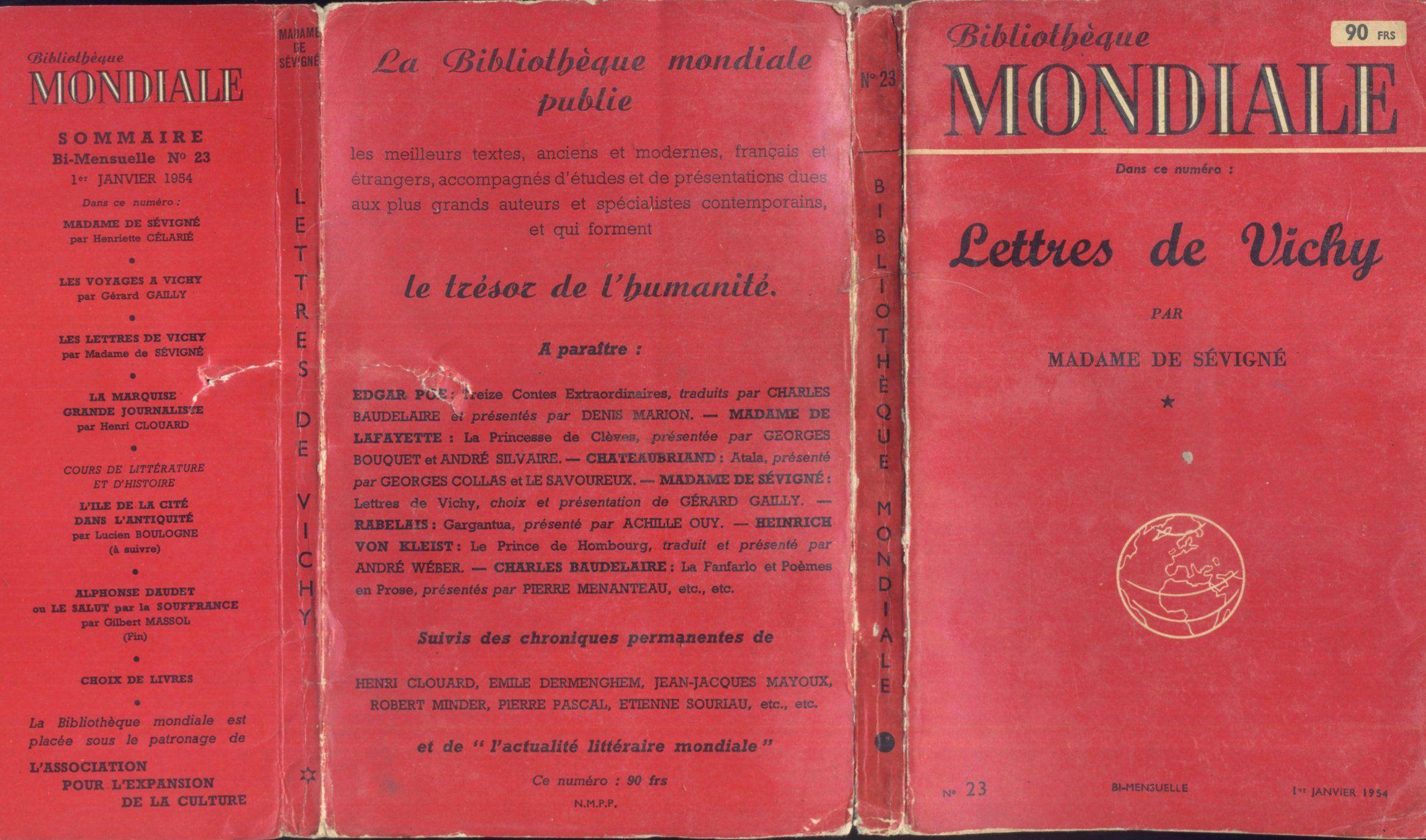 Mme De Sevigne Lettres De Vichy La Bibliotheque Mondiale 23