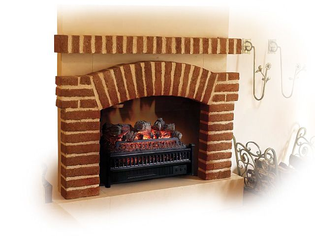 "A Comfort Smart 23"" Electric Fireplace Insert and Log Set to spruce up an old gas chimney."