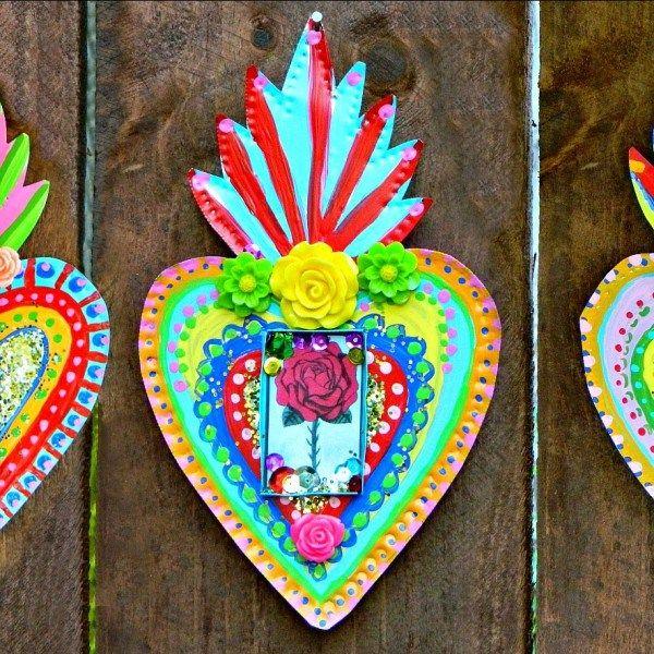 Mexican Tin Folk Art Diy Tin Art Mexican Crafts Mexican Art