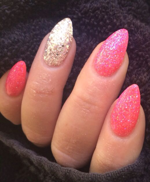 Pink and orange glitter mix and silver sculptured acrylic
