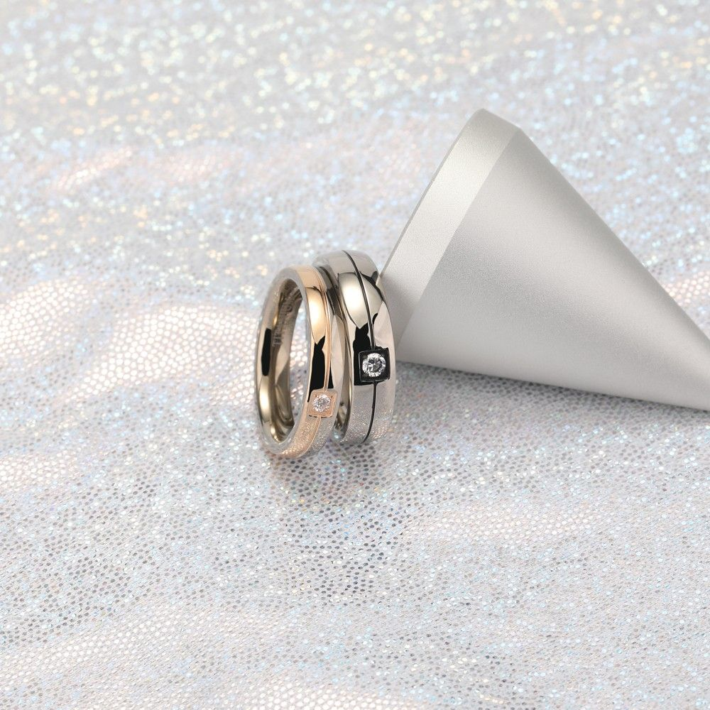 Rose Gold and Silver Titanium Couple Rings in 2020 (With