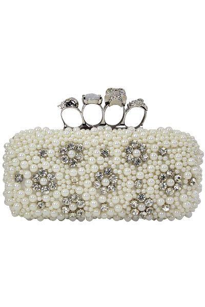 Skull Knuckle Clutch Purse White Styles Whole Handbags