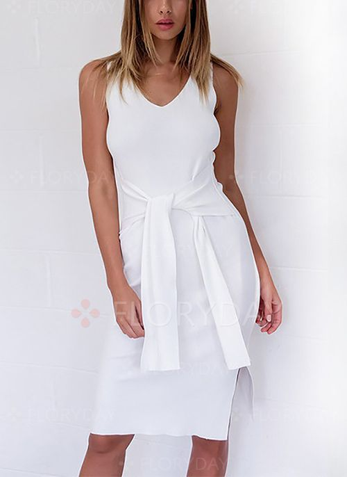 Kleider - $40.99 - Polyester Solide Ärmellos Knielang ...