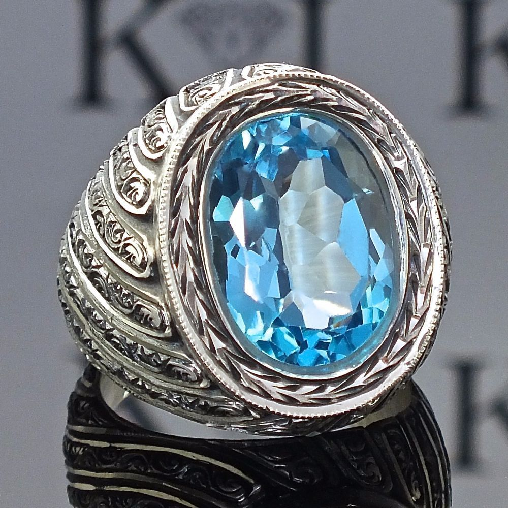 925 Sterling Silver men's ring with Blue Topaz unique handcrafted jewelry #KaraJewels #Handmade