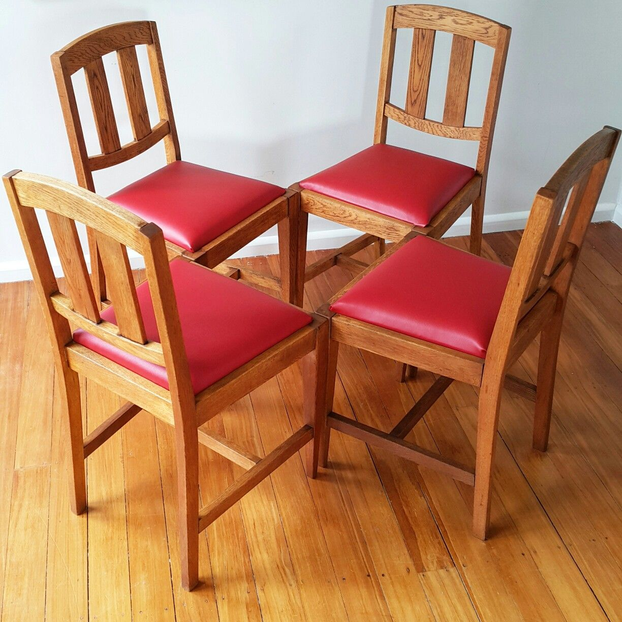 Red vinyl upholstered oak dining chairs Red dining