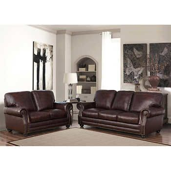 Talia 2 Piece Top Grain Leather Sofa And Loveseat Living Room Set