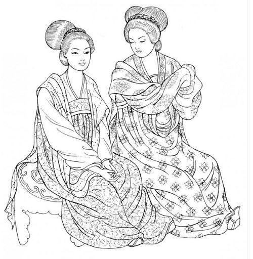 Tang Dynasty. These women of the imperial palace wear the