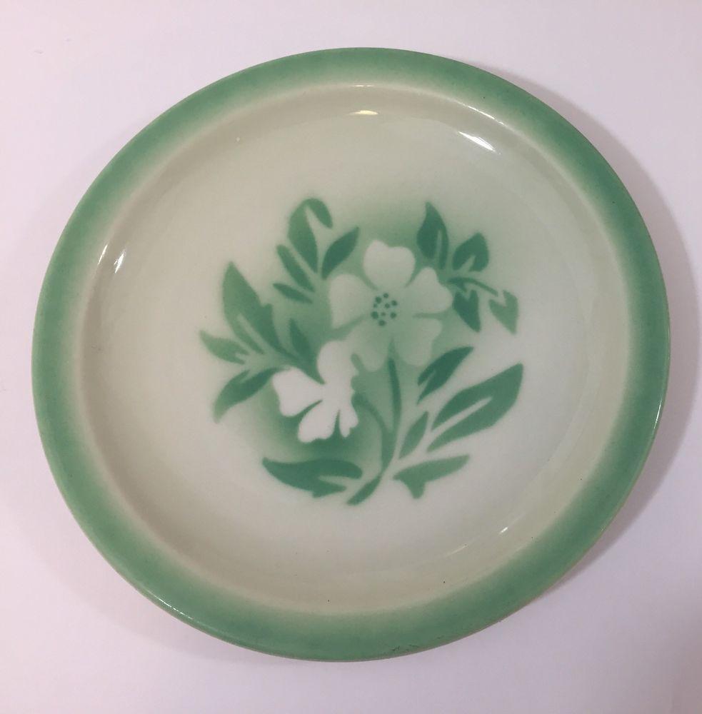 Vintage Restaurant Ware Plate Green Millbrook Syracuse China 3 Jj