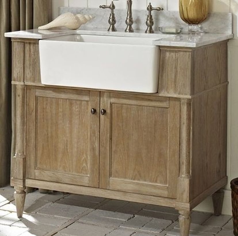 31 Rustic Bathroom Decoration With Wood Material Touches Dengan