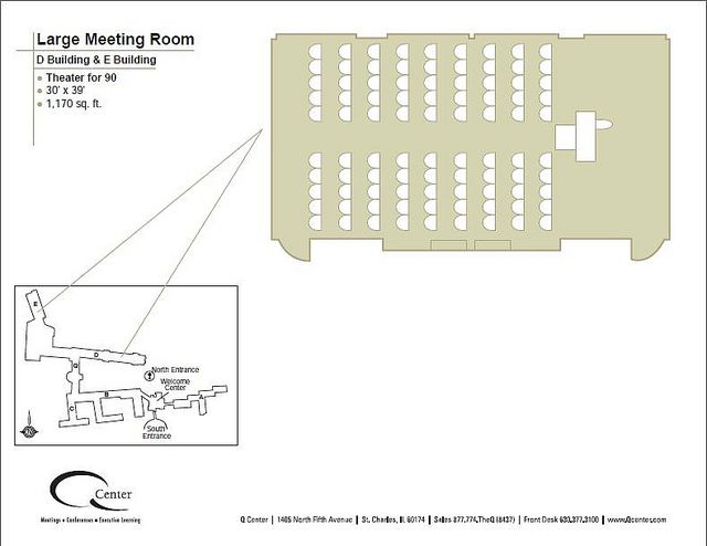 Our 1,170 square foot Large Meeting Rooms can be converted into a theater, seating up to 90 guests.