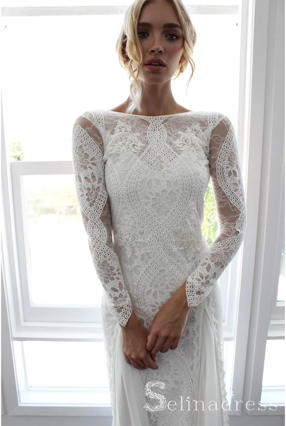 Open Back Sheath/Column Rustic Lace Wedding Dress Boho