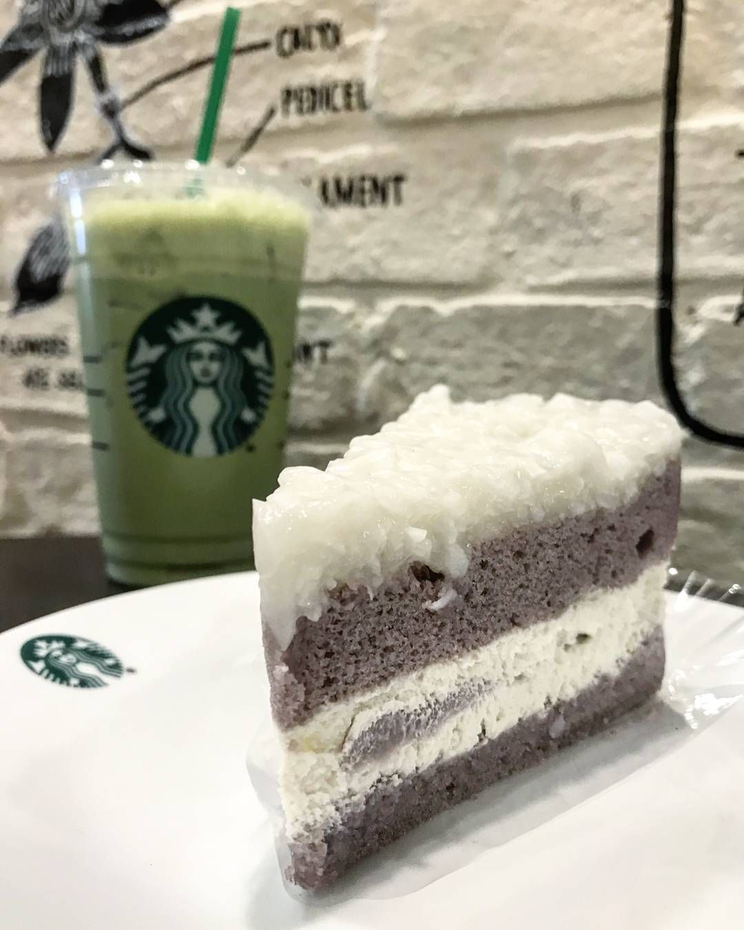 Green Tea Latte & Coconut Taro Cake #starbucks