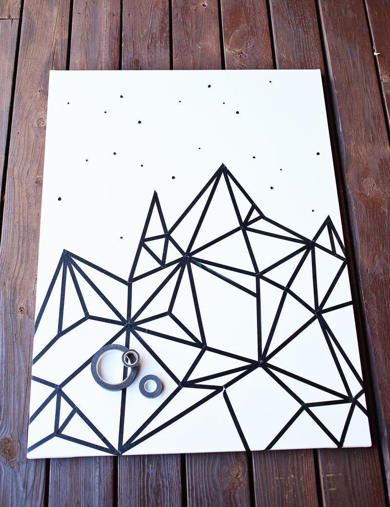 Washi tape wall art. http://www.abeautifulmess.com/2014/12/try-this ...
