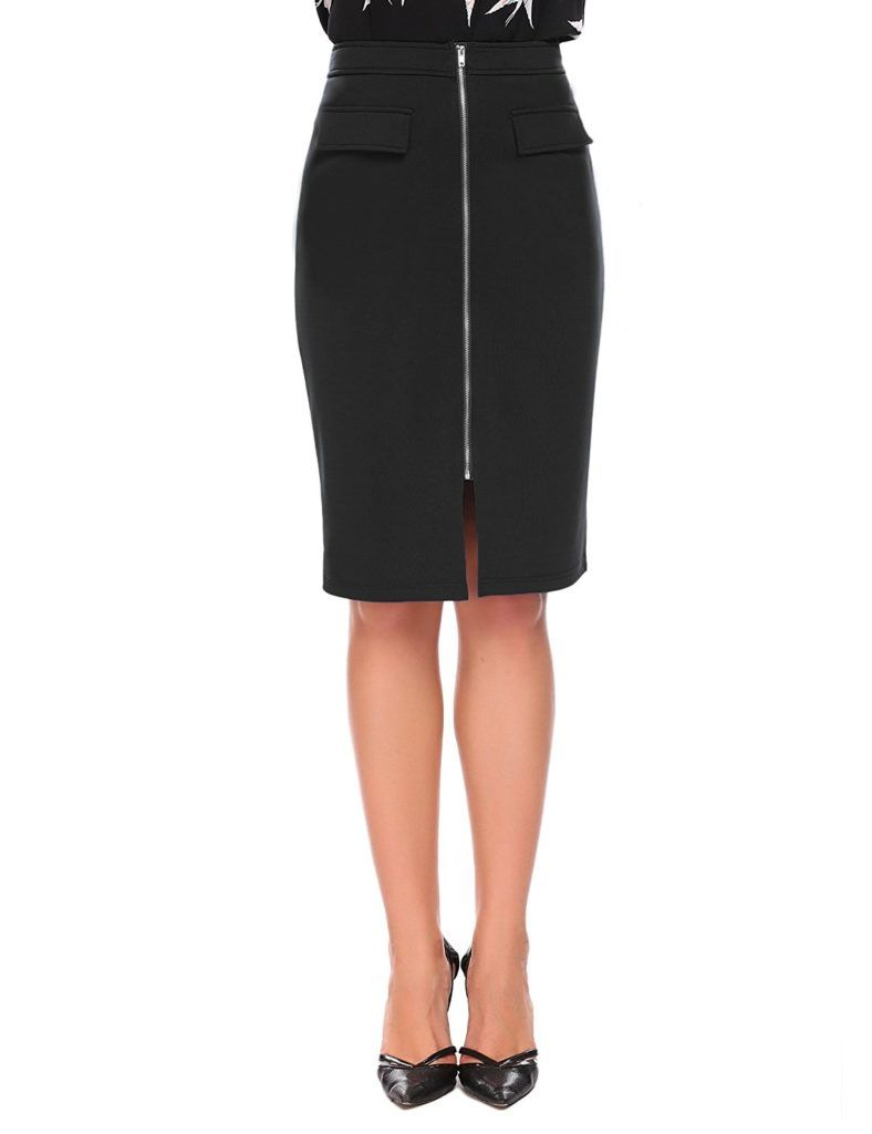 a762a1992 Chigant Midi Pencil Skirt High Waist Stretchy Bodycon Knee Length Zippered  Skirts for Women