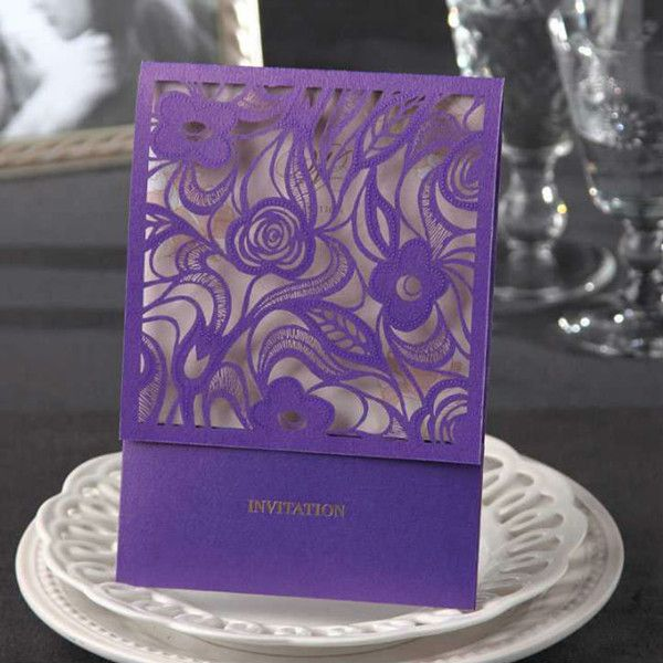 exquisite purple floral laser cut pocket wedding invitations EWWS021 as low as $2.09