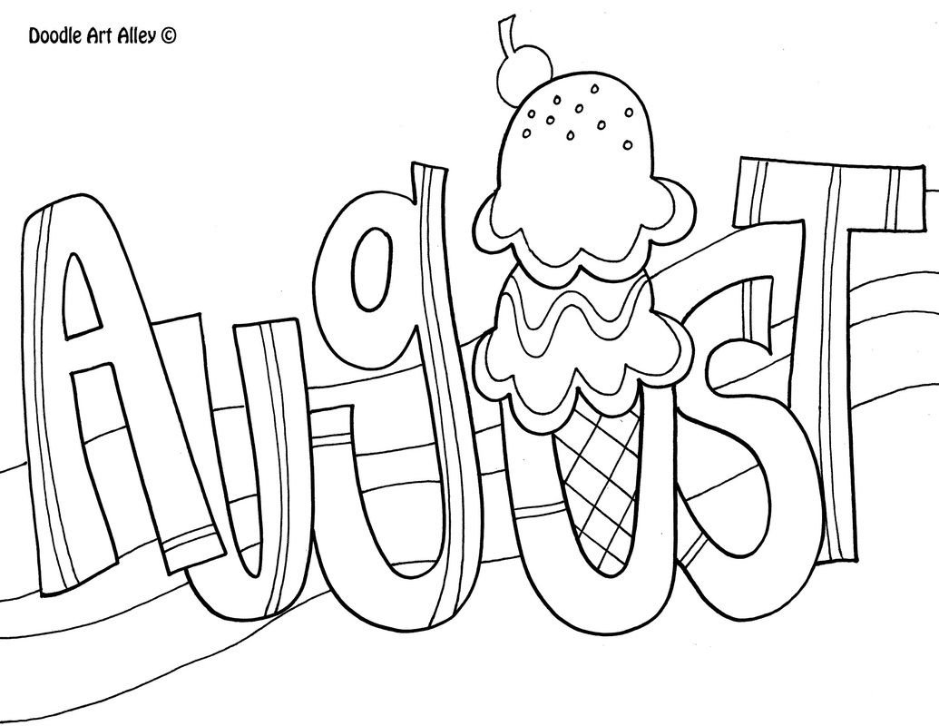 August coloring page kids crafts summe