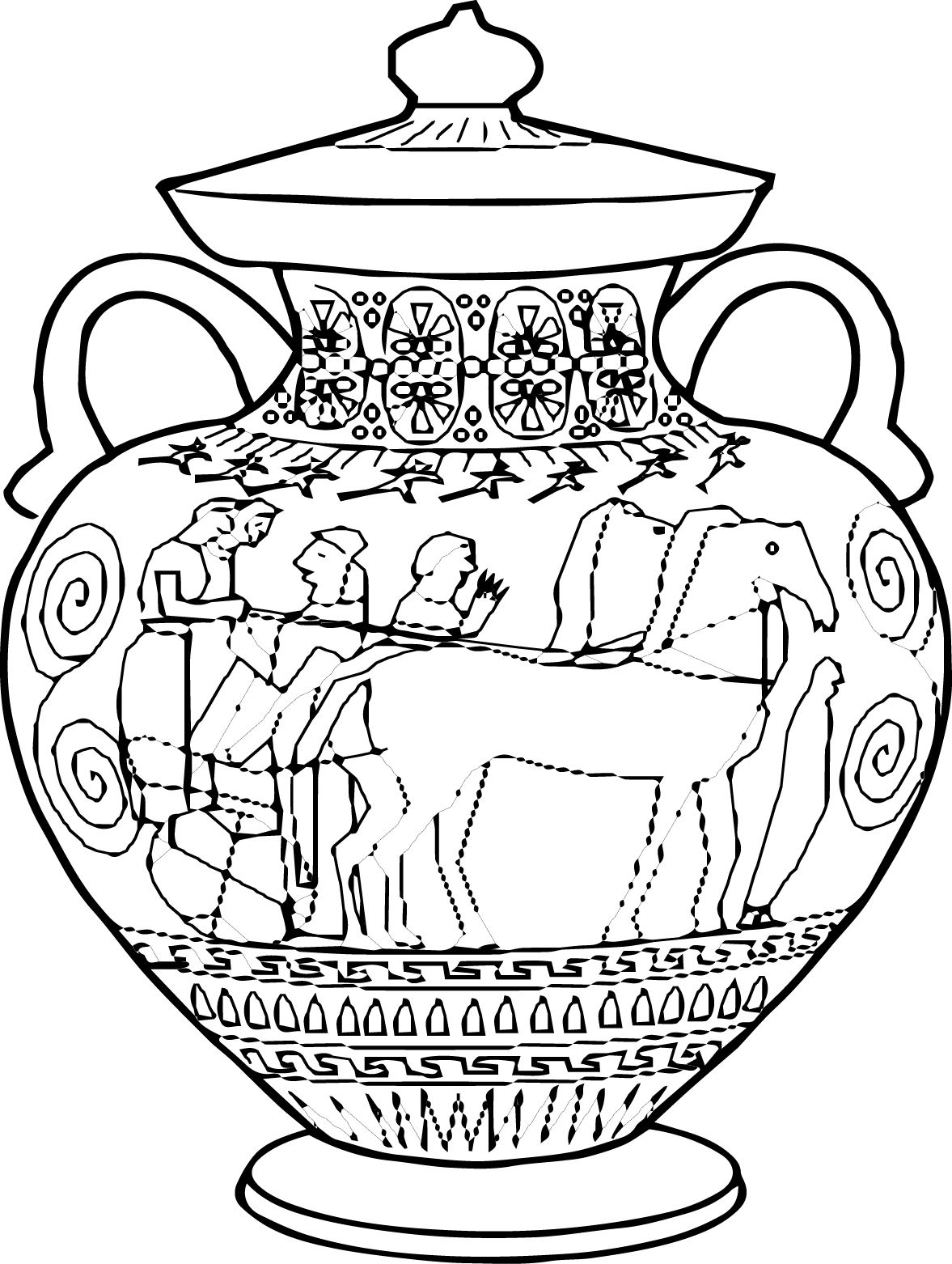 Amphora Ancient Greece Coloring Pages Jpg 1177 1562 Arte Grega