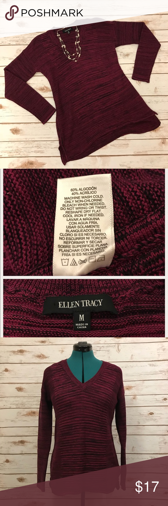 Ellen Tracy Marled V Neck Magenta Sweater Ellen Tracy